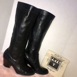 Frye Rory black leather scrunch heeled boots